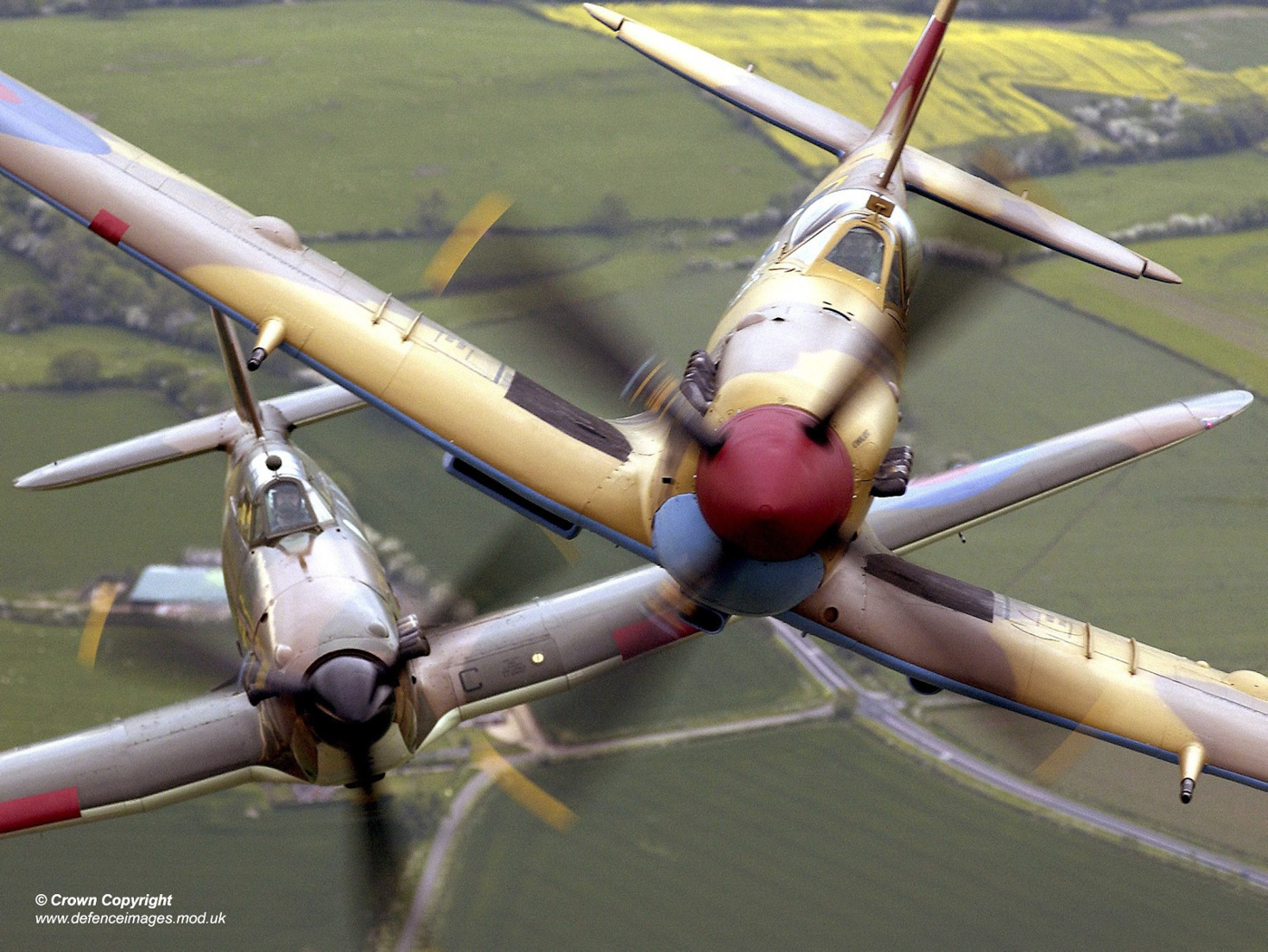 Spitfire and Hurricane in flight at RAF